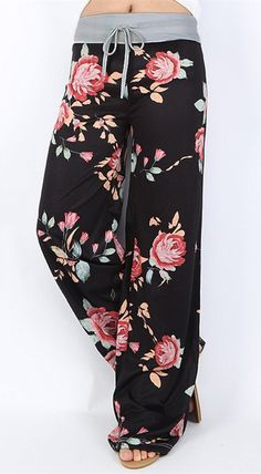 Floral Print High Waist Wide Leg Pants