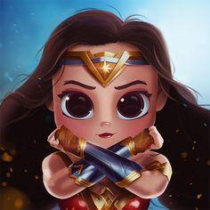 Cartoon, Portrait, Digital Art, Digital Drawing, Digital Painting, Character Design, Drawing, Big Eyes, Cute, Illustration, Art, Girl, Wonder Woman, DC, Gal Gadot, Comics, Superhero
