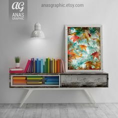 Autumn Leaves, Digital Wall Art, Digital Printable, Leaves Wall Print Decor, Nature Artwork, Home Wall Decor, Wall Art by anasgraphic on Etsy