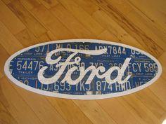 Ford license plate man cave garage art by SilverThornDesignArt, $550.00