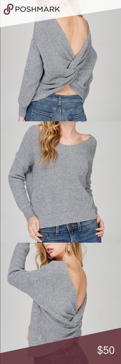 Gray twist sweater Gray sweater. The twist can be worn forward or backward. Long sleeve, loose fit Sweaters