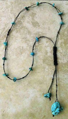 Turquoise Stone Tassel Necklace Rustic Knot by FrancaandNen