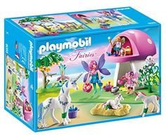 PLAYMOBIL-Fairies-with-Toadstool-House-Building-Kit
