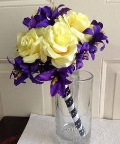 Purple and Yellow Wedding Bouquet Purple and by BlissfulPetals, $85.00