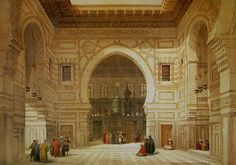 """""""Interior de la Mezquita del Sultán El-Ghoree"""" (David Roberts, 1838)"""