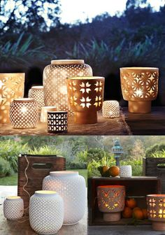 Porcelain hurricane lamps...I want a ton of these for my back yard.
