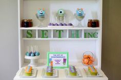 Head into Monstropolis this Monsters Inc Party By Sweet Tables by Chelle is Amazing