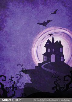 fab vinyl purple spooky mansion halloween backdrop