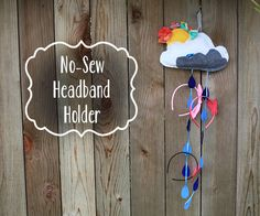 Learn how to make this adorable NO-SEW Sunshine and Rain Headband Holder (with sun rays for hair clips, rain drops for headbands, and a cloud to hold hair ties and rubber bands) on PrettyPrudent.com!