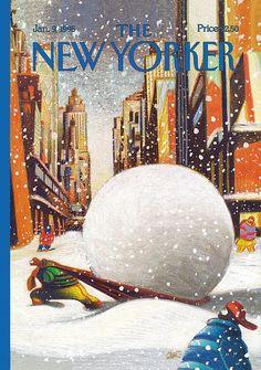 "1995 January The New Yorker - Monday, January 1995 - Issue # 3641 - Vol. 70 - N° 43 - Cover ""Snow Haul"" by Lorenzo Mattotti The New Yorker, New Yorker Covers, Capas New Yorker, Lorenzo Mattotti, Norman Rockwell Paintings, Magazine Art, Magazine Covers, Italian Artist, Christmas Art"