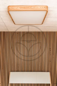 Square Wooden Lamp in Contrast with Concrete - Trilum Concrete Ceiling, Wooden Lamp, Nordic Design, Made Of Wood, Screens, Animal Print Rug, Led, Shapes, Lighting