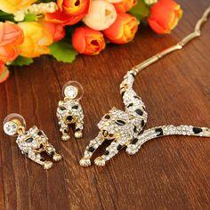 Animal Leopard Spot Earrings Necklace Set Clear Austrian Crystal Panther Enamel | eBay