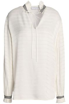 Shop on-sale Ruffle-trimmed jacquard top. Browse other discount designer Long Sleeved Top & more luxury fashion pieces at THE OUTNET White Lace, Off White, Girls Lifting, Fashion Outlet, Sandro, Sportswear Brand, Shirt Blouses, Top Sales, Blouses For Women
