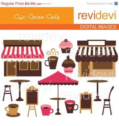 Cafe cliparts in brown and pink. Shops, tables, chairs, cupcakes, and coffee cups.    Great clip arts for your craft and creative projects.    This is a