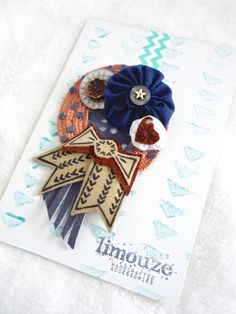 Leather Bow  Woven Wreath Brooch  Charms and Yo Yo by limouze