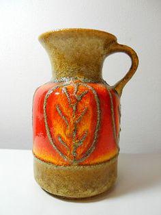Vtg 60s Mid Century Modern Jasba West German Lava Orange Glaze Ewer Pitcher Vase