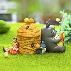 Fairy Garden Miniature Set of 5 Totoro Beside by RukawaBeads