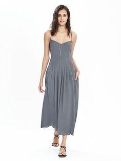 Pleated Strappy Maxi Dress   Banana Republic
