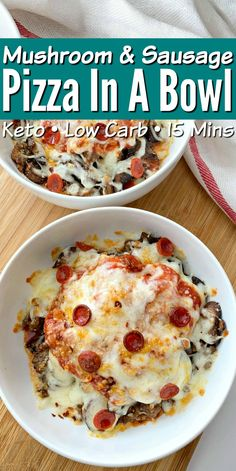 Low Carb Mushroom & Sausage Pizza In A Bowl - Quick recipe that's perfect for meal prepping and easy to customize with your favorite toppings! keto Low Carb Mushroom & Sausage Pizza In A Bowl Low Carb Dinner Recipes, Keto Dinner, Keto Recipes, Cooking Recipes, Breakfast Recipes, Dinner Healthy, Health Recipes, Steak Recipes, Pizza Recipes