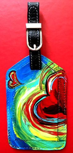 Valentine's Day Gift Hand Painted Leather Luggage Tag - Heart by JacksonArtists on Etsy