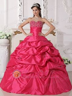 Discount Hot Pink Quinceanera Dress Sweetheart Taffeta Beading Ball Gown  http://www.fashionos.com  http://www.youtube.com/user/fashionoscom?feature=mhee   This wonderful ball gown quinceanera dress features strapless design with sweetheart neckline. Shinning bust is heavily covered by numerous rhinestones. The pleated skirt is also covered by sporadic embroidery. Elegant gown also has a graceful lace up design, you will never miss when you meet it.