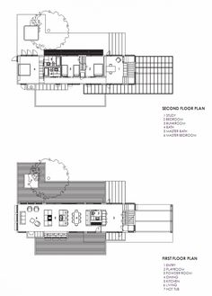 Modern Pavilion Design in the Lakeside: Modern House Floor Plan First Floor And Second Floor With Legend Long House Design Architecture With...