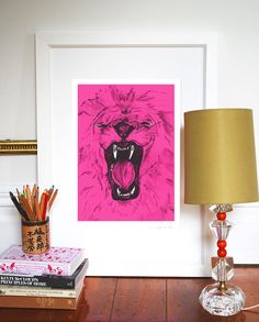 Pink lion by Evie Kemp, sooooo cute!!.
