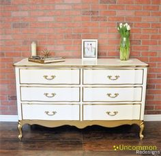 SOLD Vintage White and Gold French Provincial Dresser SOLD
