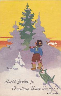 Martta Wendelin Vintage Christmas Cards, Retro Christmas, Vintage Holiday, Xmas Cards, Christmas Greetings, Christmas And New Year, Christmas Ideas, 23 November, New Year Card