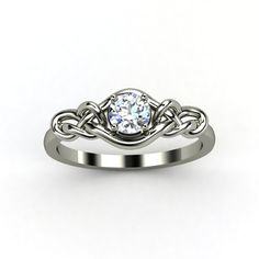 Round Diamond 14K White Gold Ring - lay_down