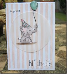 Birthday card using Simon Says Stamp Birthday Celebrations stamp set - such a cute set!   coloured with Letraset promarkers.  Background stamp is Brushstrokes by Stampin' Up
