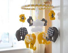 Yellow - Grey Elephant Mobile - Chevron/Polka dot MADE TO ORDER