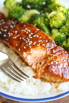 Teriyaki Salmon and Broccoli Bowls - There's no need for takeout anymore - you can easily make homemade teriyaki bowls with rice and veggies in minutes!