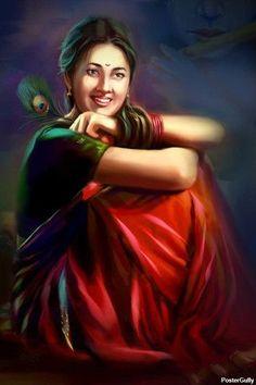 Punjabi Artwork of a village girl _ Artist_ Raviraj Kumbhar Indian Women Painting, Indian Art Paintings, Indian Artist, Abstract Paintings, Oil Paintings, Krishna Painting, Krishna Art, Composition Painting, Village Girl