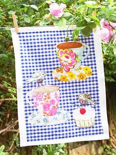 Sew an appliqué teatowel with birds, cupcakes and teacups  Tea towels are the perfect way to express your creativity; just make each one an artwork you can use to dry the dishes!