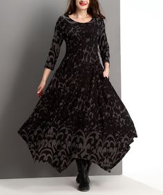 Another great find on #zulily! Charcoal Floral Handkerchief Maxi Dress - Plus #zulilyfinds