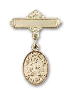 ReligiousObsession's 14K Gold Baby Badge with St. Walburga Charm and Polished Badge Pin ** Check out the image by visiting the link. (This is an Amazon Affiliate link and I receive a commission for the sales)