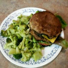 THis is my REAL Mushroom Burger. Grilled a burger and 2 portabella mushrooms. Remove stems and place stem side down on the grill. Let grill while the burger cooked. Then use mushrooms as my bun. Added a slice of tomato and a slice of cheddar cheese. Was super yummy!  Shared this on Twogrand app but wanted to share it here also.