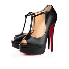 Christian Louboutin   Altapoppins 150mm Black Leather Open-toe T-strap Pump
