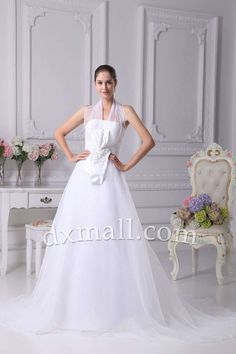 A-line Wedding Dresses Halter Court Train Organza Satin White 01001010093
