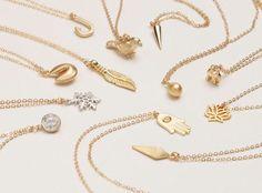 Delikates Minimal Gold Collier / wählen Sie Ihre einfachen Anhänger Halskette / Anker, Spike, Vogel, Schneeflocke, Hamsa, 14 k dünne Gold füllen Kette LN300