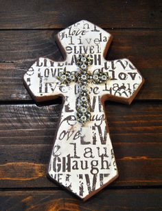 Rustic Layered Wooden Cross // Wall by FicklePickleDesigns on Etsy, $20.00