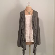 Ruffled Open Cardigan Pretty gray cascading ruffles! Sweater drapes longer in front, hits at waist in back. Long sleeves, lightweight. Great condition. 89th And Madison Sweaters Cardigans