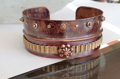 Fold formed mixed metal copper cuff bracelet rivet jewelry