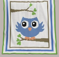 Crochet Pattern | Baby Blanket / Afghan - Blue Owl - Full Row-by-Row Instructions + Chart