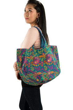 Everyday Bag Blue Bag Floral Bag Boho Bag Hippie Bag Tote
