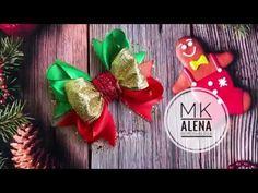 Новогодние бантики на заколках 11см мк Канзаши Алена Хорошилова tutorial diy robbon bows - YouTube