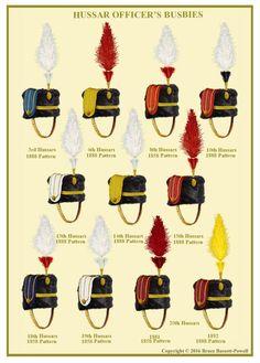 British; Hussar Regiments; Officer's Busbies. British Army Uniform, British Uniforms, Military Art, Military History, English Army, Military Costumes, British Armed Forces, Empire, World War One