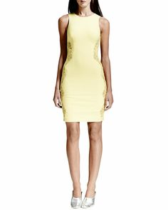 Stella McCartney - Lace-Inset Sheath Dress, Citron