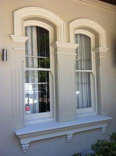 Painting, Colour and Detailing. Exterior Color Schemes, House Color Schemes, House Colors, Exterior Design, Colour Schemes, Victorian Terrace, Victorian Homes, Facade House, House Facades